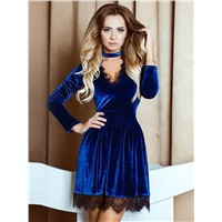 Woman Sexy Lace up Velvet Long Sleeve Deep V Mini Dress
