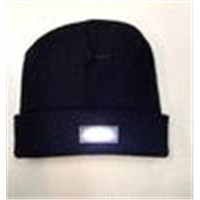 Hot Sale Knitted Acrylic Black LED Beanie Hat