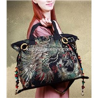 Sequin Embroidery Women Shoulder Fashion Bags Ladies Large Capacity Pack Canvas Shoulder Messenger Bags