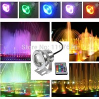 10W 12V LED Underwater Light Waterproof IP68 RGB Landscape Pool Lamp 16 Colors Change with IR Remote