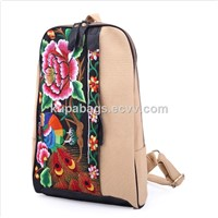 Canvas+Cow Leather Hand Embroidered Backpack Women Cute Backpacks Travel Backpacks