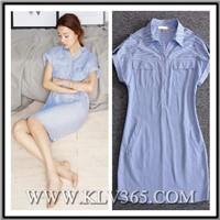High Quality Women Clothing Fashion Striped Casual Shirt Dress for Summer
