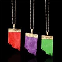 Raw Semi Precious Pendant Necklace