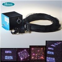 Fiber Optic Outdoor Light for Deck Patio Garden with LED Light Emitter & End Glow Cable with Black PVC Cover