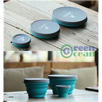 Portable Convenient Foldable Silicone Travel Drinking Cup & Dinner Bowl (S-90ml M-500ml L-1000ml)