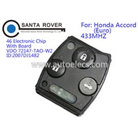 Hot Sale 3 Button Remote Control Key for Honda Accord 2008-2010 Year Car Key Fobs Euro Model 433Mhz