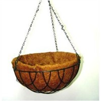 Wire Hanging Basket with Coconut Shell