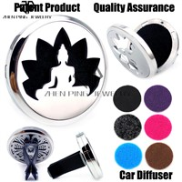 (38mm) Magnet Diffuser 316 Stainless Steel Car Aroma Locket Free Pads Essential Oil Car Diffuser Lockets