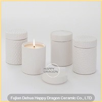 Line Engraved White Ceramic Candle Jar with Lid