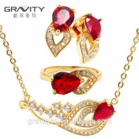 Fashion Luxury Red Ruby Jewelry Set for Weeding