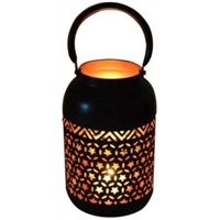 Bronze and Glass Arabic Candle Holder Lantern with Hanging Loop