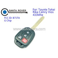 Top Quality 4 Button 433Mhz Car Key for Toyota TOKAI RIKA Camry Vios Car Remote Key G Chip
