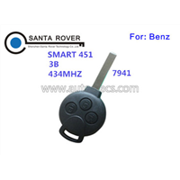 High Quality 3 Button 433MHZ for Mercedes Benz Smart 451 Fortwo Remote Key Fob Keyless