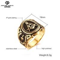 Vintage 316l Stainless Steel Men Ring Black Gold FreeMason Freemasonry Masonic Male Retro Punk Black Brand Ring Jewelry