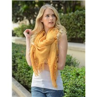 Plain Color Soft Fringed Women Scarf Shawl