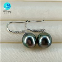 Baroque Seawater Tahitian Pearl Dangling Earring In Sterling Silver Hook for Women