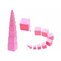 Kindergarten Building Toys Wooden Educational Games Wood Montessori Sensorial Materials Pink Tower