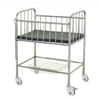 Stainless Steel Frame Infant Hospital Bed with Rubber Brake Castors