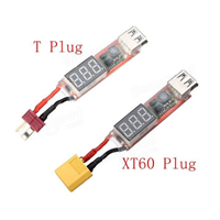 T or XT60 Connector 2S-6S Lipo To USB Power Converter Adapter w/Digital Display 5V 2A w/Digital Display 5V 2A