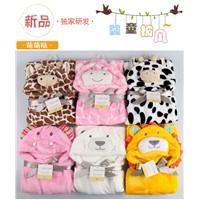 Cute Cartoon Hooded Flannel Baby Blanket Bedding Super Comfortable Hooded Blanket