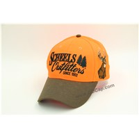 6 Panel Blaze Orange & Oil Skin Fabric Embroidery Baseball Cap