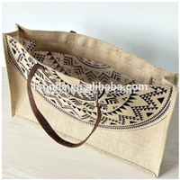 Custom Jute Honeymoon Tote Bag with Leather Handles