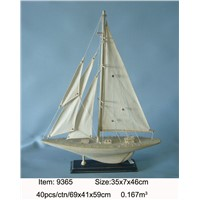 Nautical America's Cup Contender Model Yacht White Sails - Model Ship - Nautical Home Toy Figure