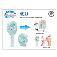 HF311 New Design Recharegeable Portable Battery Mini Mist USB Fan with Water Spray