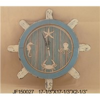 Home Decor Rustic Wood Country Nautical Wooden Steering Wheel Clock Wall Clock