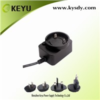 Wall Mounted 12v 1a Interchangeable Plug AC to DC Power Adapter