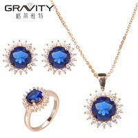 Gravity Fashion Dubai Unique Elegant Blue Stone 18K Gold Body Jewelry Set Factory Direct Price for Ladies Jewelry Set