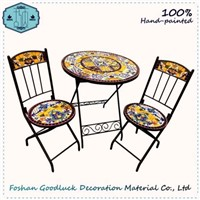 OEM Hand Painted Ceramic Mosaic Top Cast Iron Patio Outdoor Garden Set