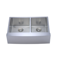 Round Corners Double Bowl Undermount Farmhouse Sink Apron Front Sink
