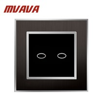 2 Gang 1 Way Light Switch & Lamp Pull Switch UK Standard Wall Touch Switch Satin Metal Panel Capacitive Touch Switch