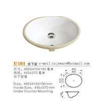 China Bathroom Ceramic Sink Manufacturers, China Bathroom Wash Basin Suppliers U301