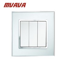 MVAVA 3 Gang Push Button Wall Light Switch Electrical 16A 250V Wall Switch Luxury Chromed Mirror Glass Panel