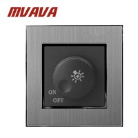 MVAVA Dimmer Switch Luxury Silver Satin Metal Brushed Metal UK EU Standard Rotary Dimmer Lamp Wall Switch