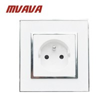 MVAVA French Standard Wall Power Socket Electrical Plug Outlet 16A Crystal Glass Mirror Panel