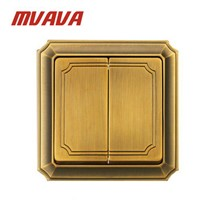 MVAVA Luxury Bronzed Wall Switch 16A 110-250V Decorative 2 Gang 2 Way Electrical Light Push Button Wall Switch