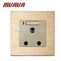 Mvava Luxury Satin Aluminium Series 15A South Africa Wall Socket & Switch with LED 15A South Africa Switched Socket