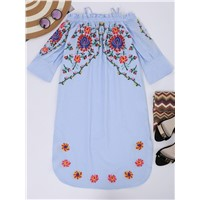 Flare Sleeve Cami Floral Embroidered Dress