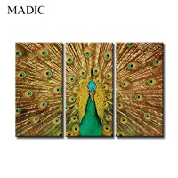 Wall Art Canvas Prints 3 Panel Modern Oil Painting on Canvas Peacock Wall Pictures for Home Decoration