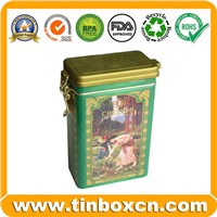 Rectangle Tea Tin Box with Airtight Lid & Metal Mechanism, Tin Tea Caddy