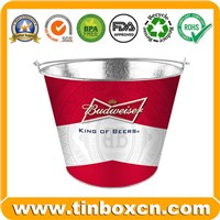 Round Beer Metal Tin Ice Bucket with Handle, Tin Pail (BR1973)