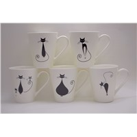 New Bone China V Shape Cat Coffee Mugs