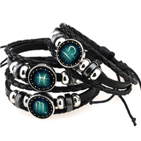 Fashion Beaded Hand Woven Leather 12 Constellation Retro Bracelet