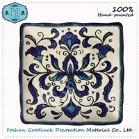 Classical Woman Promotion Gift Set Blue Color Pottery Dish Plate