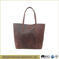 Wholesale Vintage Crazy Horse Women Leather Shopper Bag