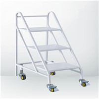 Factory Supplier Movable Manual Metal 3 Step Staircase Book Ladder