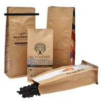 Customized Printed Coffee Kraft Paper Flat Bottom Bag Box Pouch Food Packaging Coffee Bag